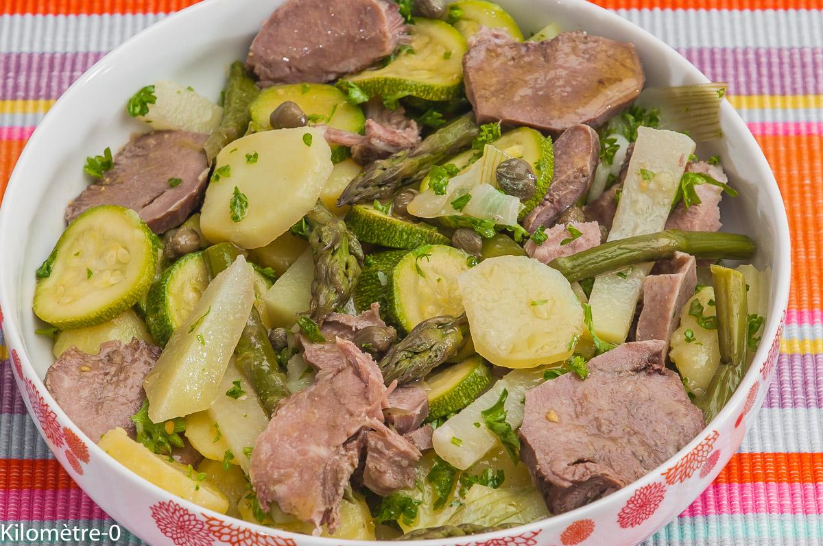Photo de recette facile, rapide, légère, bio  de salade de langue de porc, légumes, printemps,  Kilomètre-0, blog de cuisine réalisée à partir de produits locaux et issus de circuits courts