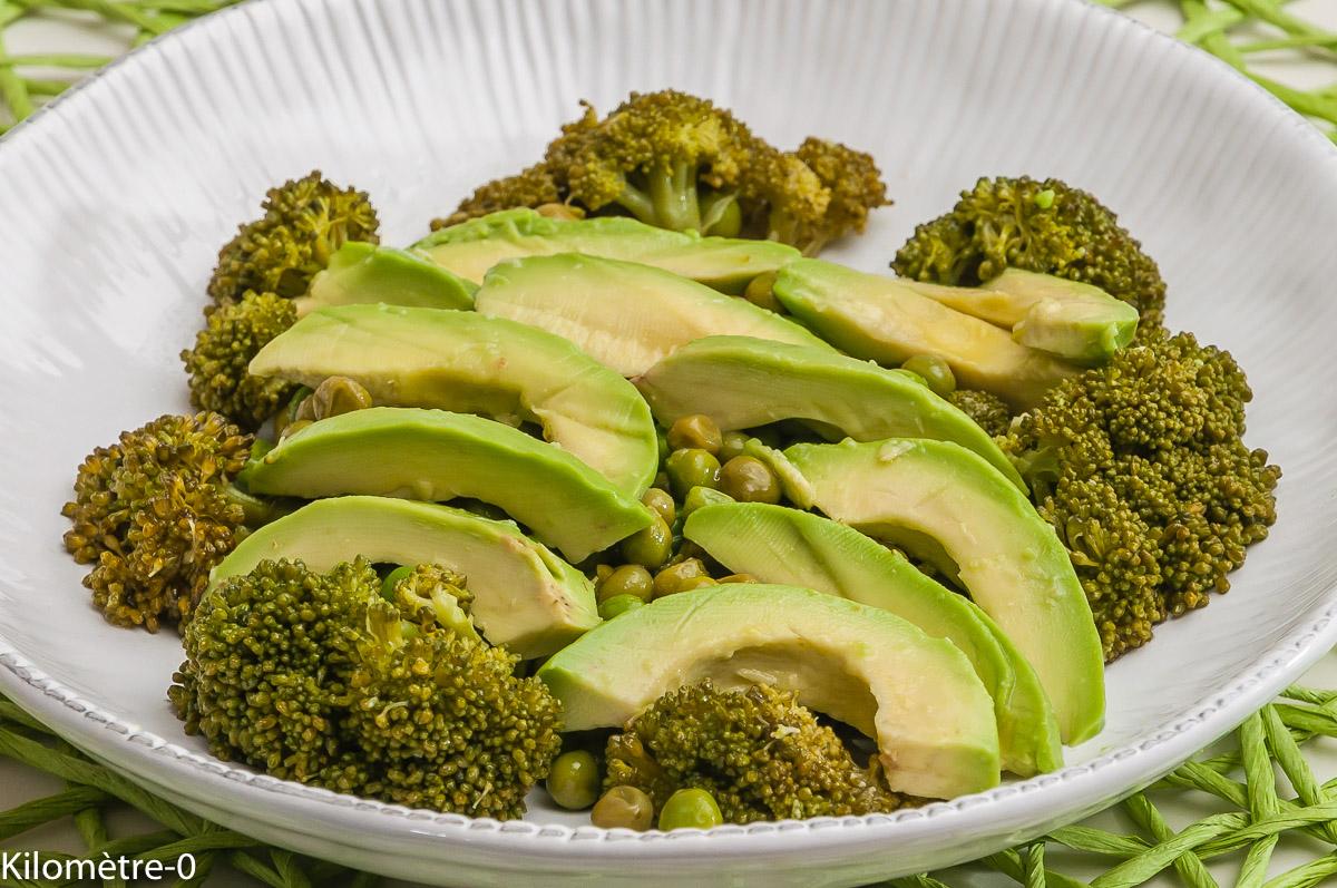Photo de recette de salade brocolis, avocat, petits pois, facile, rapide, léger de  Kilomètre-0, blog de cuisine réalisée à partir de produits locaux et issus de circuits courts