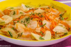 Photo de recette de salade, carotte, chou rave, concombre, facile, bio, léger,  Kilomètre-0, blog de cuisine réalisée à partir de produits locaux et issus de circuits courts