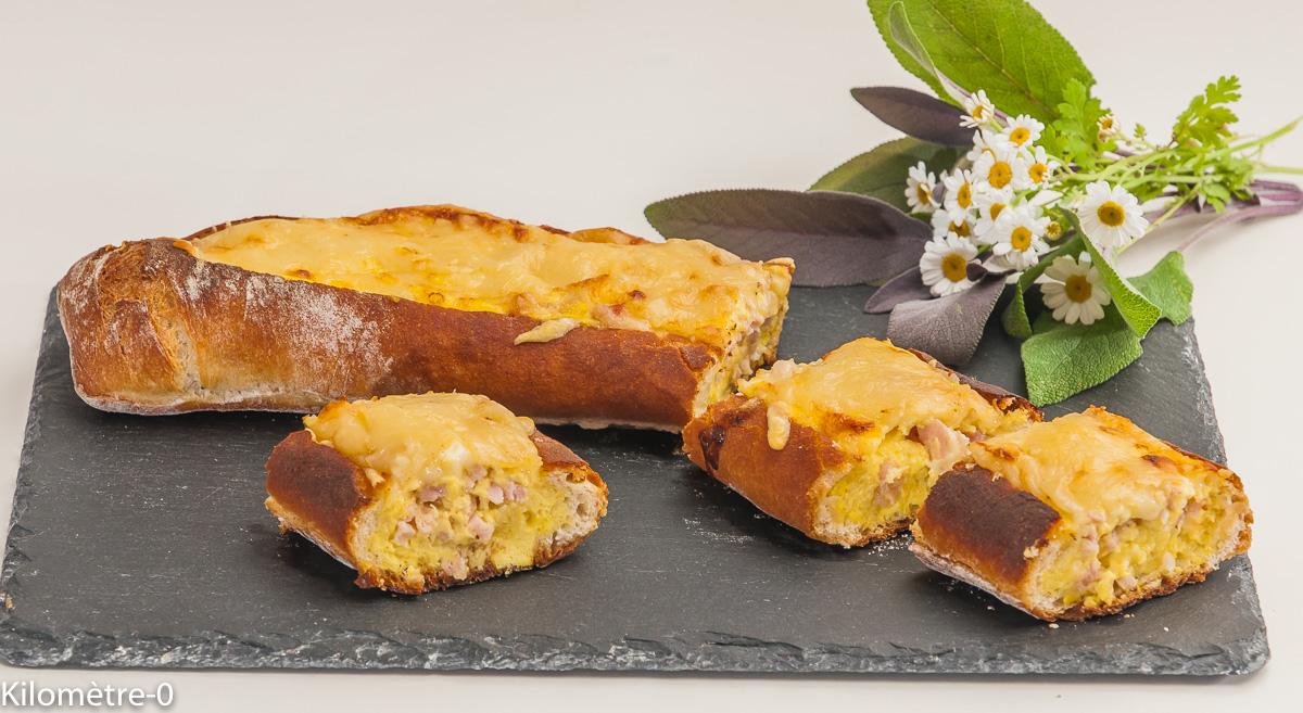 Photo de recette de baguette, quiche, jambon, emmental, omelette, rapide, apéro, facile, de Kilomètre-0, blog de cuisine réalisée à partir de produits locaux et issus de circuits courts
