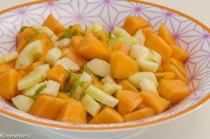 Photo de recette de salade, melon, concombre, facile, bio, rapide, léger de  Kilomètre-0, blog de cuisine réalisée à partir de produits locaux et issus de circuits courts