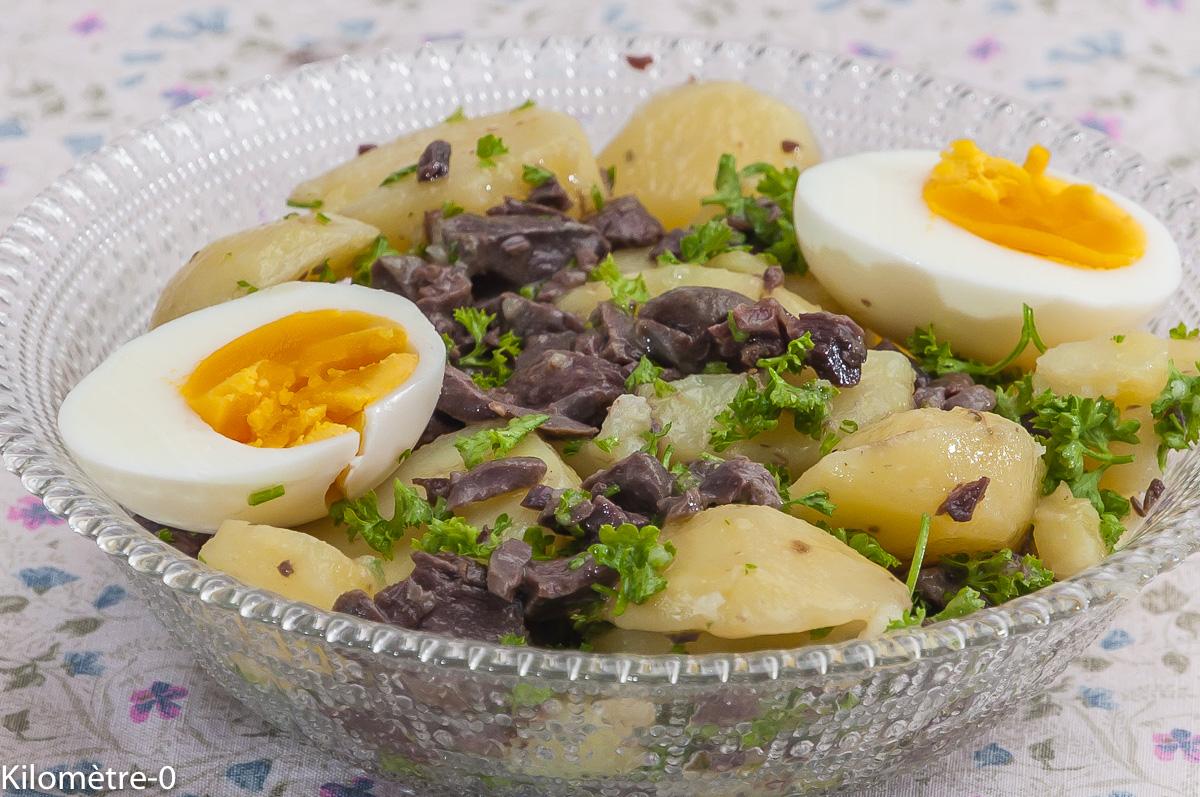 Photo de recette de  salade, pomme de terre, gésiers, canard, oeuf dur , facile, Kilomètre-0, blog de cuisine réalisée à partir de produits locaux et issus de circuits courts