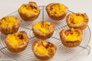 Photo de recette de pastéis de Nata facile, léger  de  Kilomètre-0, blog de cuisine réalisée à partir de produits locaux et issus de circuits courts
