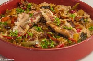 Photo de recette de cuisine marocaine, rouget, semoule, épice, facilen, rapide Kilomètre-0, blog de cuisine réalisée à partir de produits locaux et issus de circuits courts