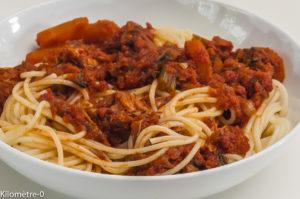 Photo de recette de spaghetti, ragu, veau, cuisine italienne, facile, sauce tomate, Kilomètre-0, blog de cuisine réalisée à partir de produits locaux et issus de circuits courts
