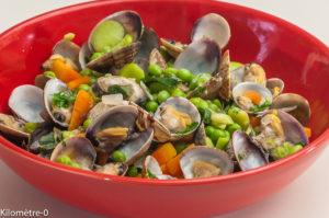 Photo de recette de palourdes, petits pois, fèves, carotte, facile, rapide, léger de  Kilomètre-0, blog de cuisine réalisée à partir de produits locaux et issus de circuits courts