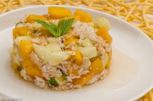 Photo de recette de tartare de mangue, concombre, araignée de Kilomètre-0, blog de cuisine réalisée à partir de produits locaux et issus de circuits courts