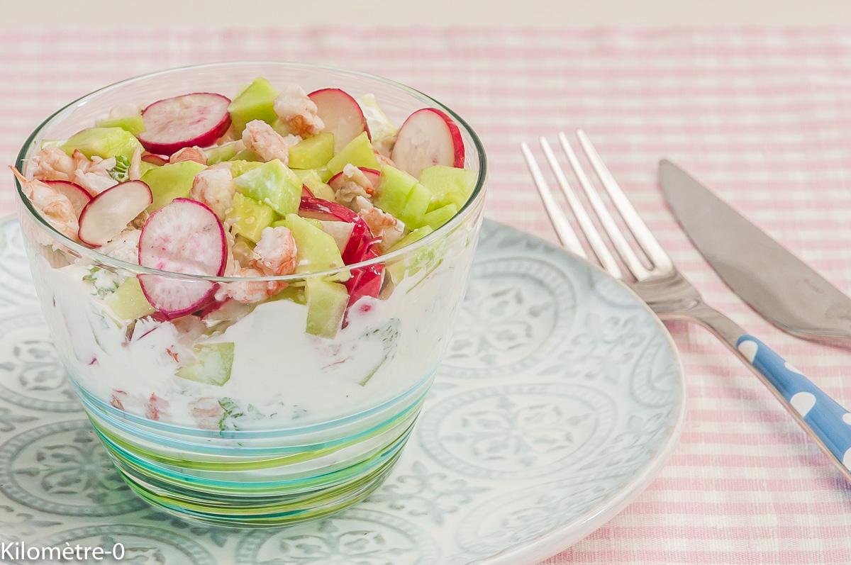 Photo de recette de tzatziki, langoustine, radis, concombre, salade, verrine,  Kilomètre-0, blog de cuisine réalisée à partir de produits locaux et issus de circuits courts