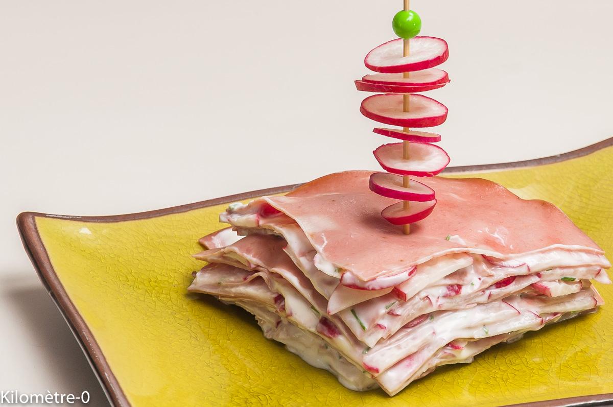 Photo de recette de gâteau, mortadelle, fromage frais, radis, apéro, italienne, Kilomètre-0, blog de cuisine réalisée à partir de produits locaux et issus de circuits courts