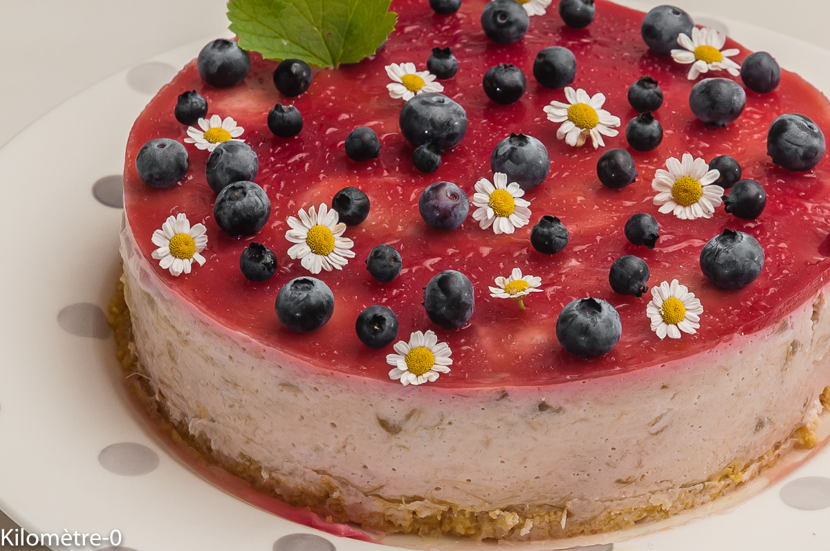 Photo de recette de cheesecake, rhubarbe, framboise, léger, facile, de  de  Kilomètre-0, blog de cuisine réalisée à partir de produits locaux et issus de circuits courts