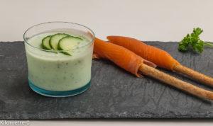 Photo de recette de verrine, concombre, mousse, saumon fumé, gressin, facile, bio de  Kilomètre-0, blog de cuisine réalisée à partir de produits locaux et issus de circuits courts