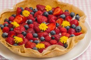 Photo de recette de  tarte, brick, brik, famboise, fraise, myrtille, ricotta, facile, rapide, léger, été de Kilomètre-0, blog de cuisine réalisée à partir de produits locaux et issus de circuits courts