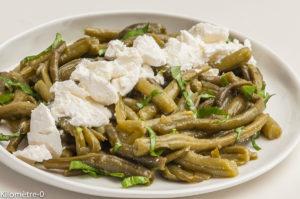 Photo de recette de salade, haricot vert, ricotta, fromage, facile; rapide, léger de Kilomètre-0, blog de cuisine réalisée à partir de produits locaux et issus de circuits courts