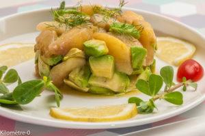 Photo de recette de salade de pêche, avocat, facile, rapide, léger de Kilomètre-0, blog de cuisine réalisée à partir de produits locaux et issus de circuits courts