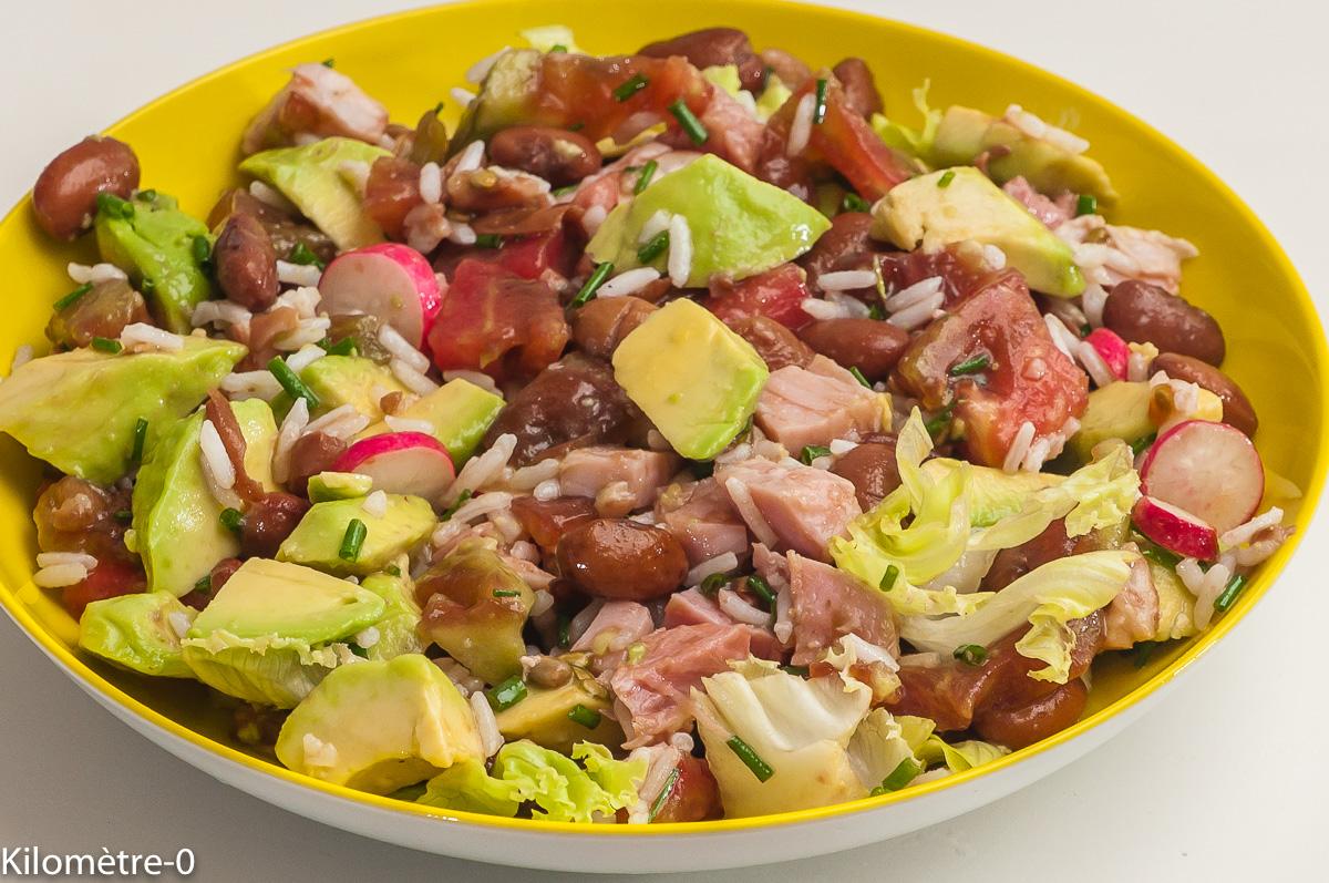 Photo de recette de salade composée, haricots, borlotti, avocat, jambon, tomates, radis, facile, riz, rapide de Kilomètre-0, blog de cuisine réalisée à partir de produits locaux et issus de circuits courts
