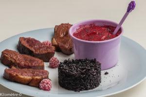 Photo de recette de magret, framboise, sorbet, riz noir, grillade de Kilomètre-0, blog de cuisine réalisée à partir de produits locaux et issus de circuits courts