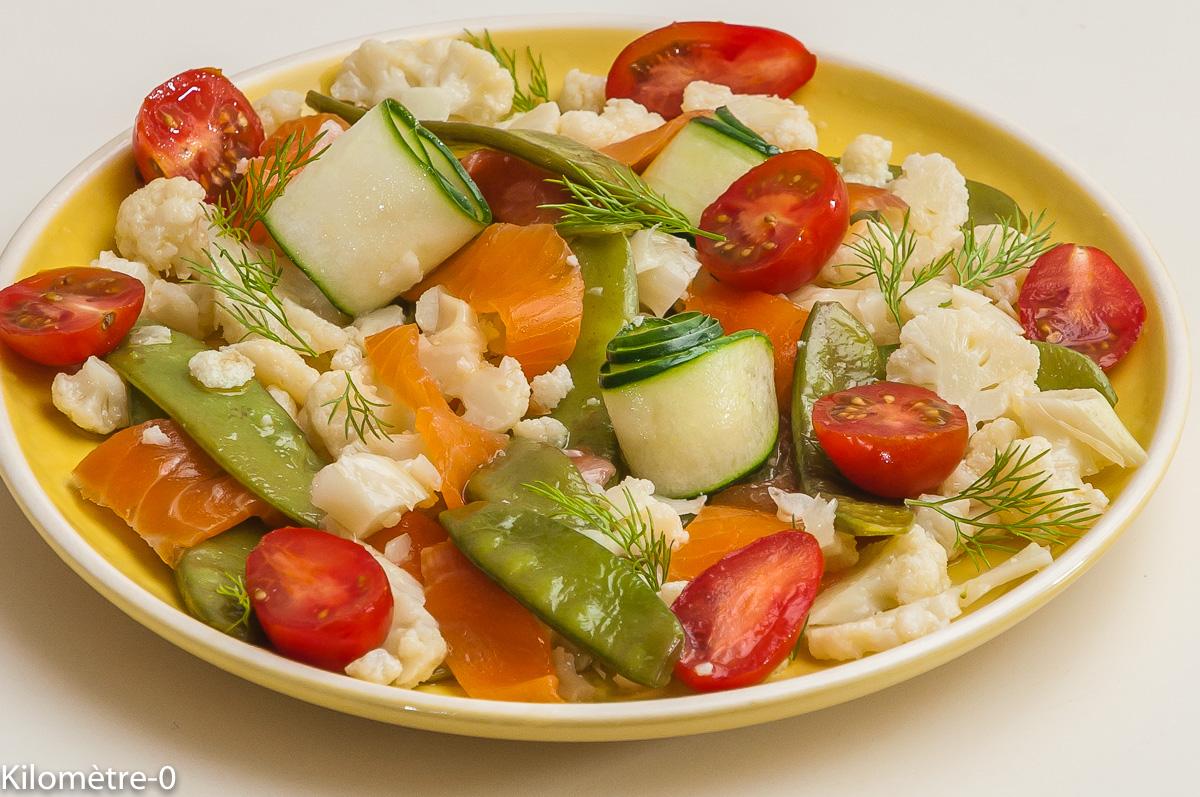 Photo de recette de salade, chou fleur, aneth, saumon fumé, tomates, ccncombre, pois gourmand, facie, léger,  de Kilomètre-0, blog de cuisine réalisée à partir de produits locaux et issus de circuits courts