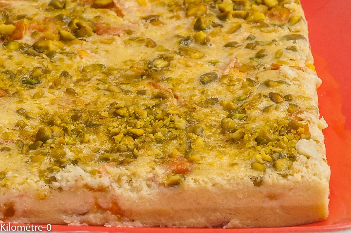Photo de recette de flan, abricots, pistache de Kilomètre-0, blog de cuisine réalisée à partir de produits locaux et issus de circuits courts
