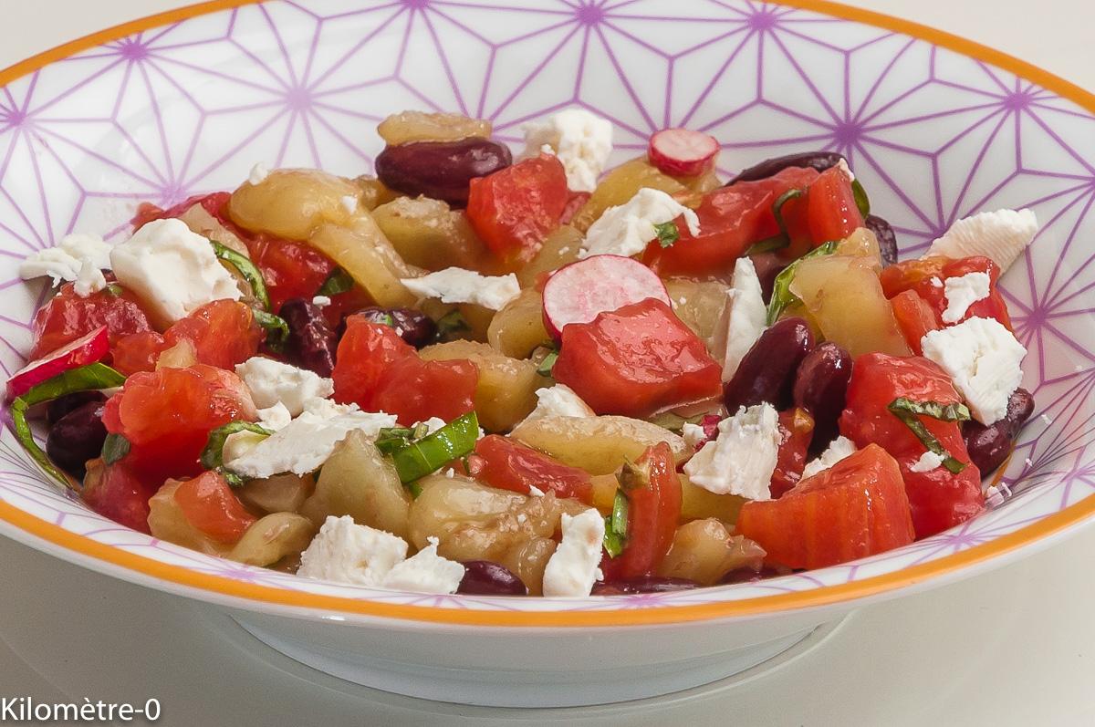 Photo de recette de salade, été, facile, tomate, poivron, fêta de Kilomètre-0, blog de cuisine réalisée à partir de produits locaux et issus de circuits courts