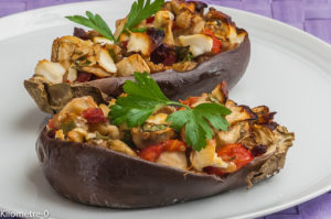 Photo de recette d'aubergine farcie, chèvre, tomate, four vapeur, facile, léger, rapide de  Kilomètre-0, blog de cuisine réalisée à partir de produits locaux et issus de circuits courts