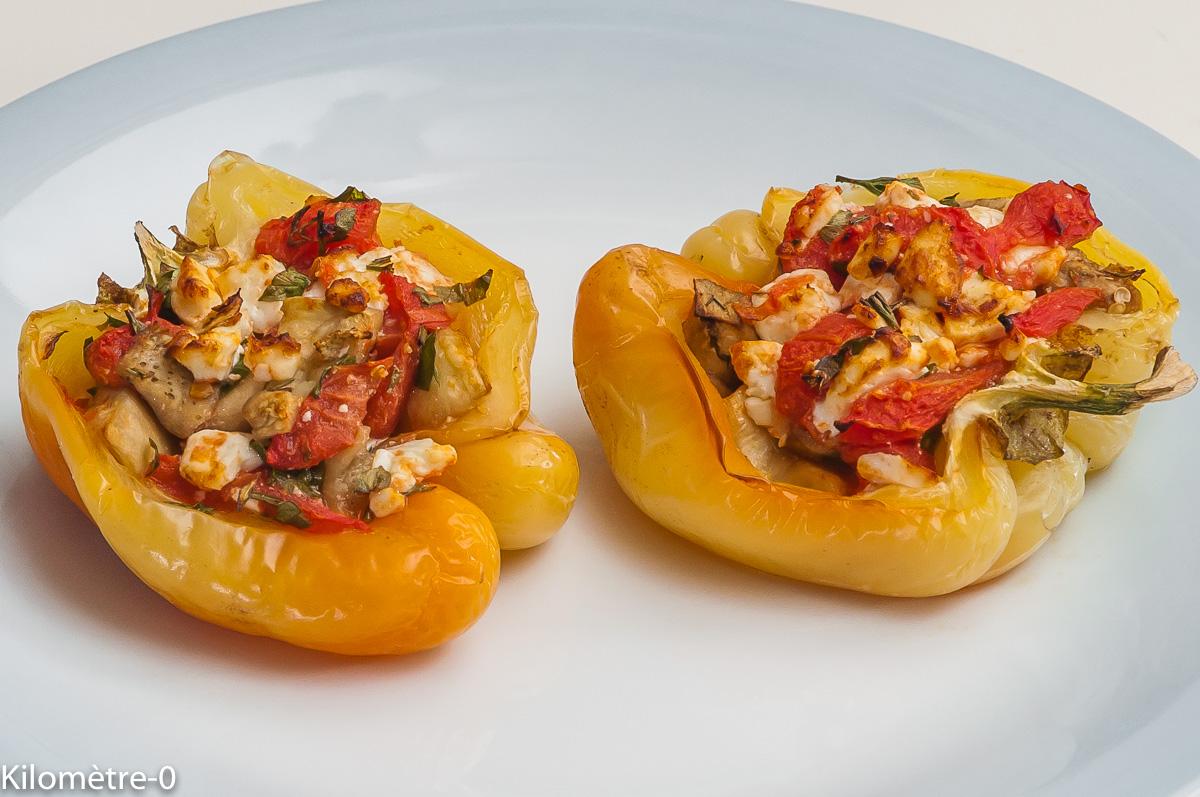 Photo de recette de poivrons, farcis, aubergine, tomate, fêta, facile, bio, rapideKilomètre-0, blog de cuisine réalisée à partir de produits locaux et issus de circuits courts