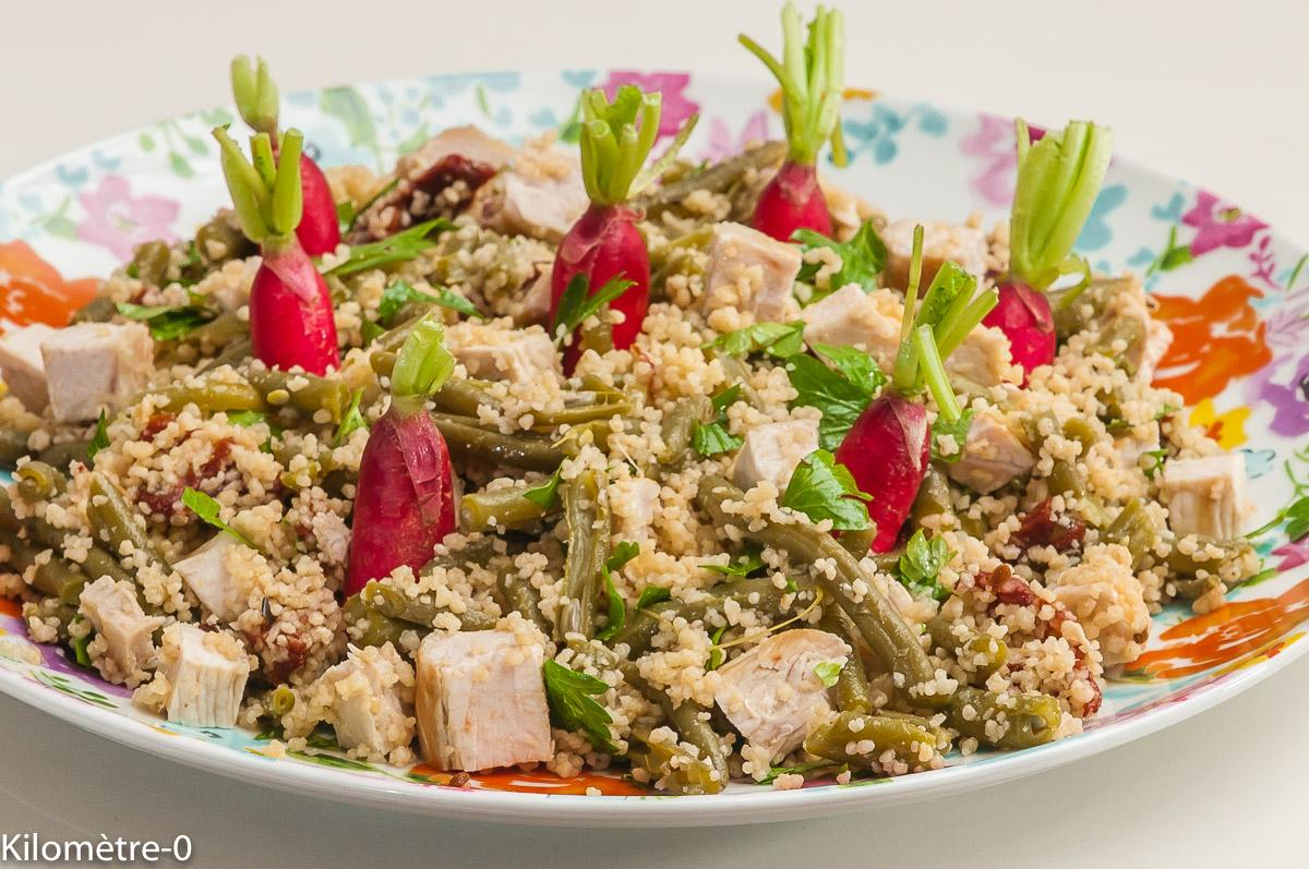 Photo de recette de salade de semoule, radis, dinde, haircot de Kilomètre-0, blog de cuisine réalisée à partir de produits locaux et issus de circuits courts