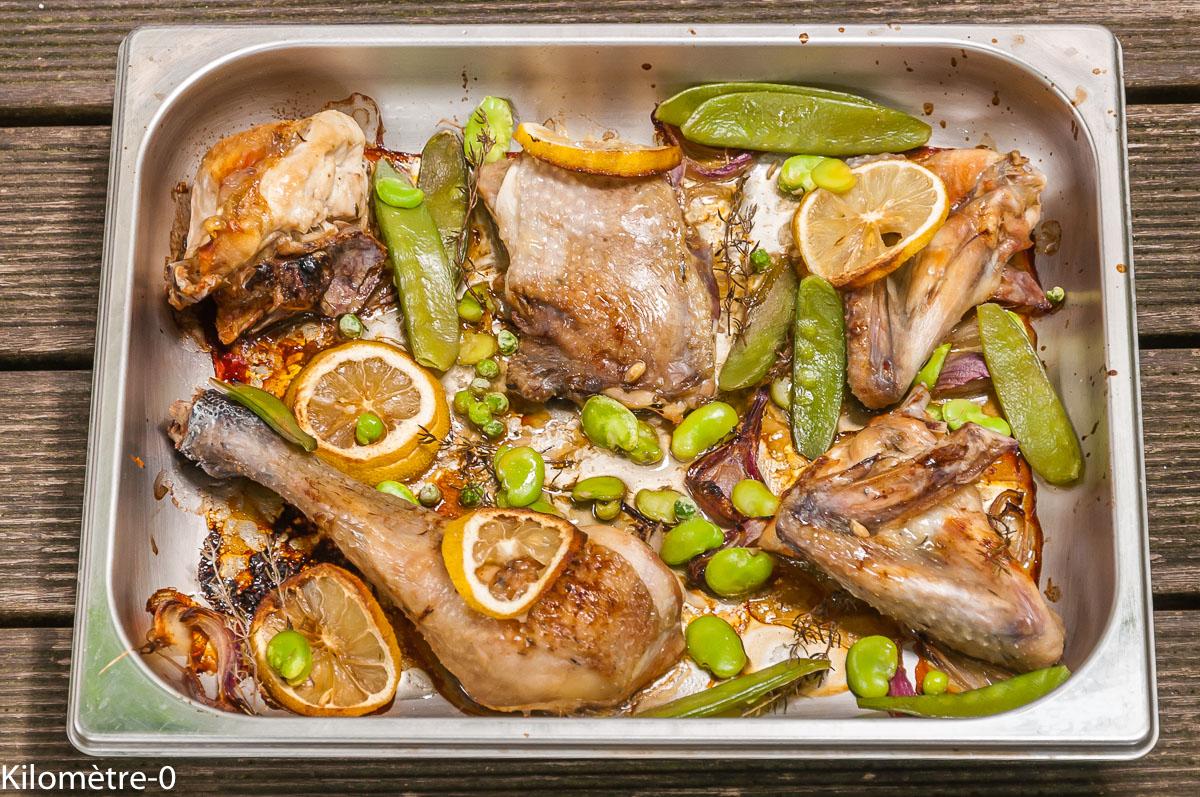 Photo de recette de poulet, citron, facile,  légumes, fèves, petits pois, haricots plats de Kilomètre-0, blog de cuisine réalisée à partir de produits locaux et issus de circuits courts