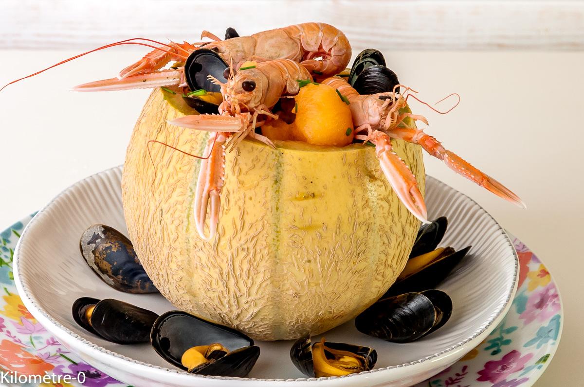 Photo de recette de melon, coque, langoustine, moules, de  Kilomètre-0, blog de cuisine réalisée à partir de produits locaux et issus de circuits courts
