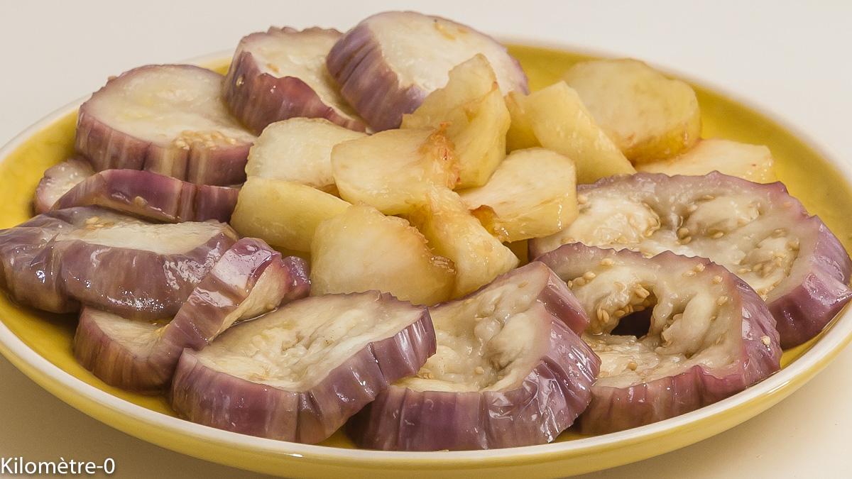 Photo de recette de salade aubergines, pêches, facile, rapide, léger de Kilomètre-0, blog de cuisine réalisée à partir de produits locaux et issus de circuits courts
