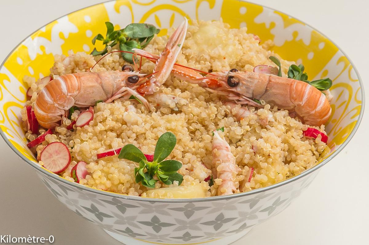 Photo de recette de salade, quinoa, langoustines, pêches, légère, été de Kilomètre-0, blog de cuisine réalisée à partir de produits locaux et issus de circuits courts