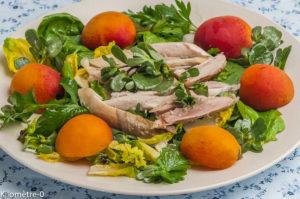 Photo de recette de salade, poulet, abricots, herbes de  Kilomètre-0, blog de cuisine réalisée à partir de produits locaux et issus de circuits courts