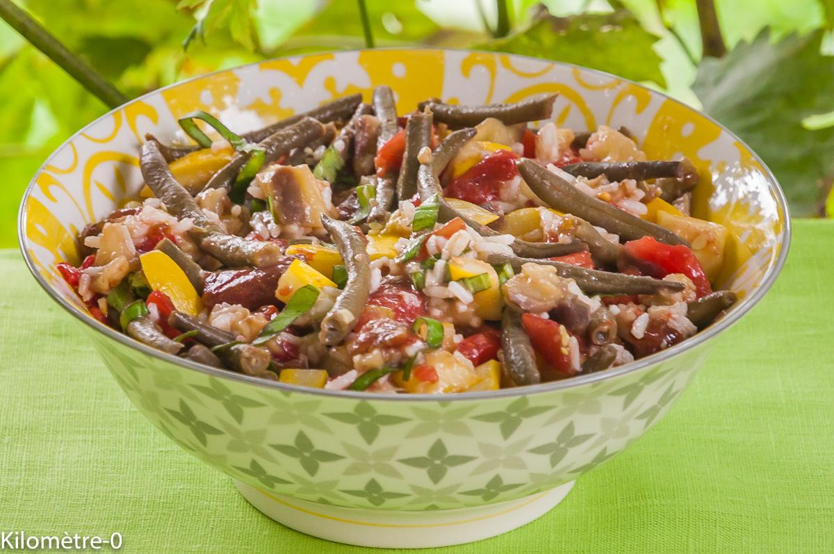 Photo de recette de salade, riz, courgettes, aubergines, haricots, facile, rapide, bio de  Kilomètre-0, blog de cuisine réalisée à partir de produits locaux et issus de circuits courts
