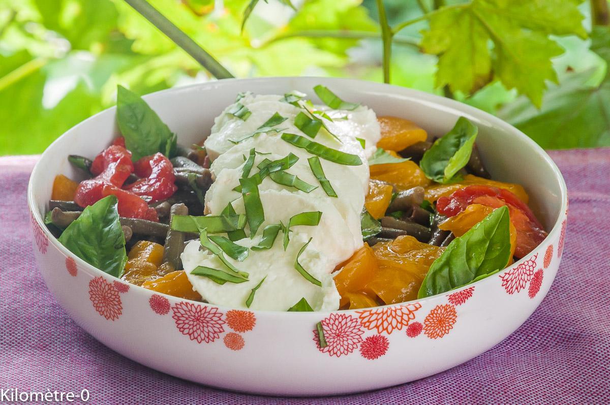 Photo de recette de tomate, mozzarella, haricots verts, bio de Kilomètre-0, blog de cuisine réalisée à partir de produits locaux et issus de circuits courts