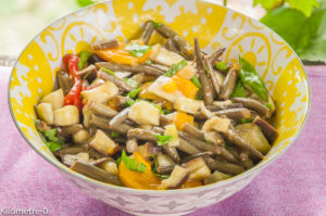 Photo de recette de salade-aubergine-haricotsverts- Kilomètre-0, blog de cuisine réalisée à partir de produits locaux et issus de circuits courts