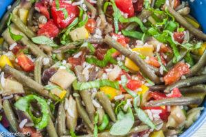 Photo de recette de salade, haricot vert, tomate, riz, légère, été, facile, bio de Kilomètre-0, blog de cuisine réalisée à partir de produits locaux et issus de circuits courts