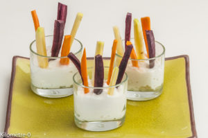 Photo de recette de verrine, apéro, carottes, bio de Kilomètre-0, blog de cuisine réalisée à partir de produits locaux et issus de circuits courts
