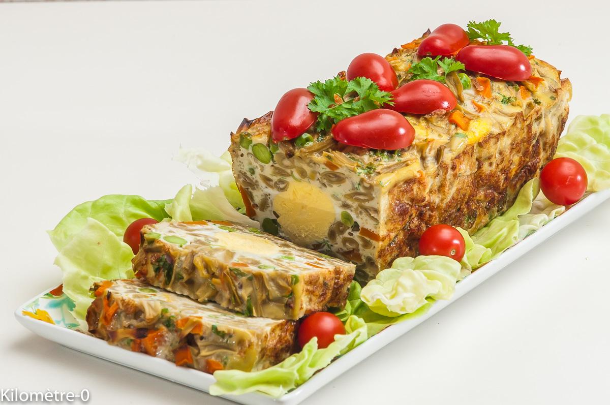 Photo de recette de terrine, oeuf, légumes, végétarien, haricots verts, facile, léger de Kilomètre-0, blog de cuisine réalisée à partir de produits locaux et issus de circuits courts