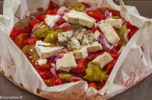 Photo de recette de tomate, fêta, papillote, facile, rapide, léger, été, Kilomètre-0, blog de cuisine réalisée à partir de produits locaux et issus de circuits courts