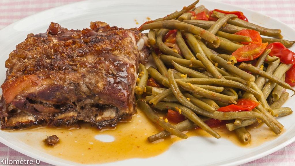 Photo de recette de spare ribs, travers de porc, épices, haricots verts de Kilomètre-0, blog de cuisine réalisée à partir de produits locaux et issus de circuits courts