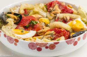 Photo de recette de salade de moules, pommes de terre, tomate, été, concombre, oeufs de Kilomètre-0, blog de cuisine réalisée à partir de produits locaux et issus de circuits courts