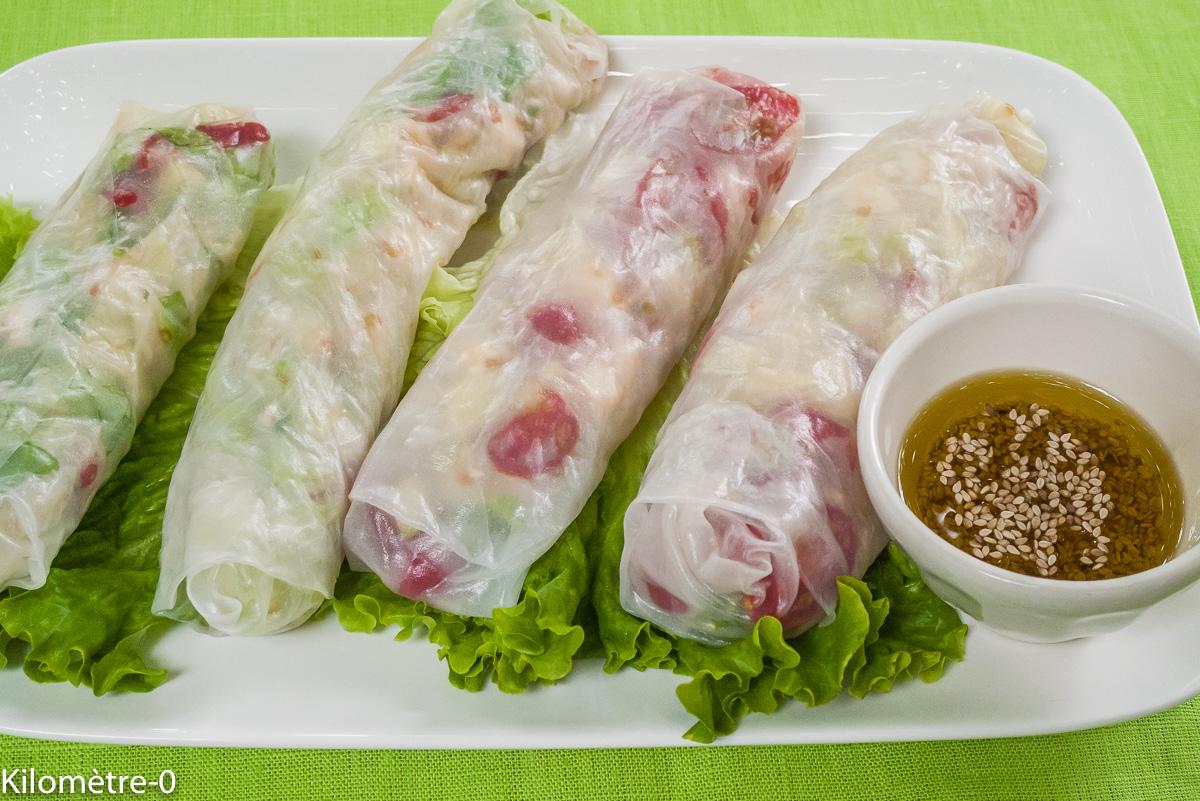 Photo de recette de  rouleau de printemps, salade grecque, facile, rapide, léger, bio de Kilomètre-0, blog de cuisine réalisée à partir de produits locaux et issus de circuits courts