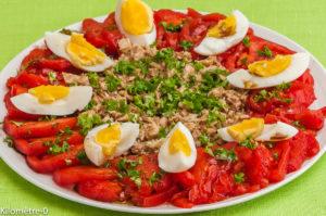 Photo de recette de salade de thon aux oeufs bio de Kilomètre-0, blog de cuisine réalisée à partir de produits locaux et issus de circuits courts