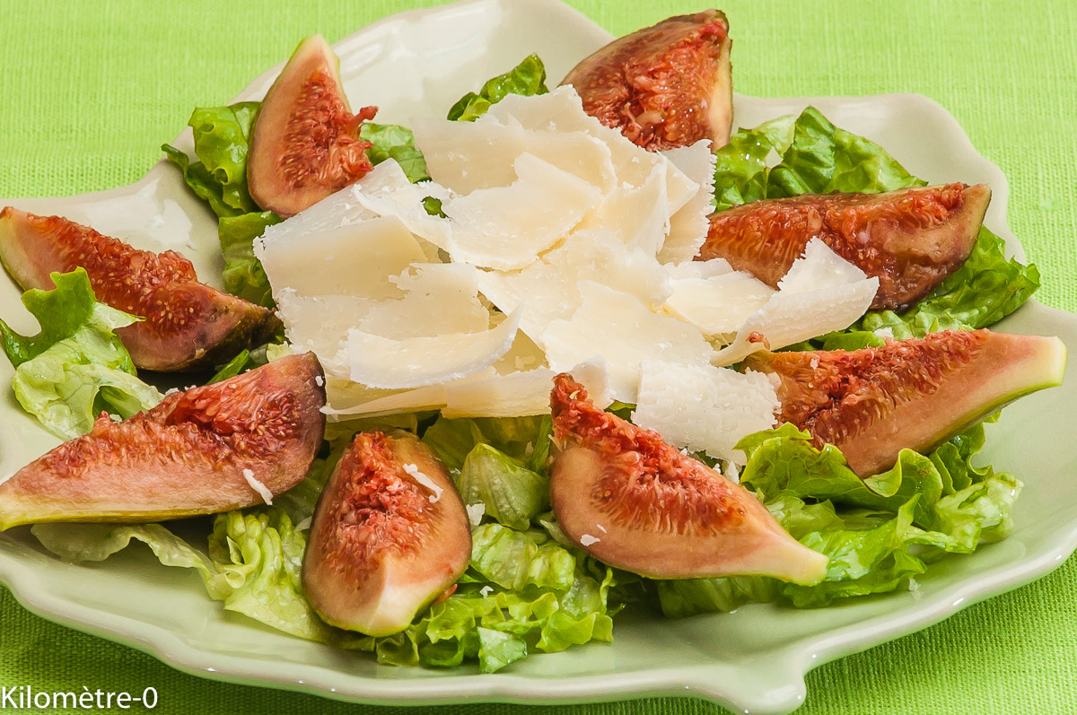 Photo de recette de figues au grana padano de Kilomètre-0, blog de cuisine réalisée à partir de produits locaux et issus de circuits courts