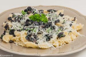 Photo de recette de pâtes, champignons, pécorino, facile, Kilomètre-0, blog de cuisine réalisée à partir de produits locaux et issus de circuits courts