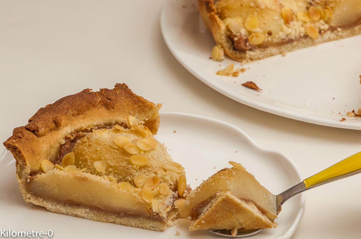 Photo de recette de tarte, poires, amandes, marrons de Kilomètre-0, blog de cuisine réalisée à partir de produits locaux et issus de circuits courts