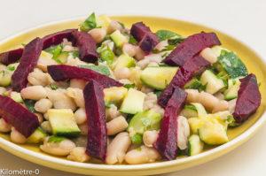 Photo de recette de salade de mogettes, courgette, betterave, cuisine vendéenne de Kilomètre-0, blog de cuisine réalisée à partir de produits locaux et issus de circuits courts