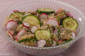 Photo de recette de salade, quinoa, aubergine, courgette, radis, bio, facile de  Kilomètre-0, blog de cuisine réalisée à partir de produits locaux et issus de circuits courts