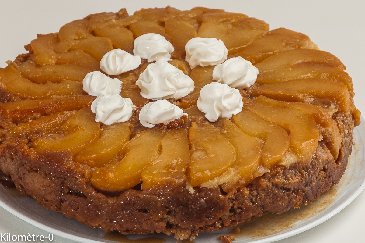 Photo de recette de gâteau renversé aux poires, bio de Kilomètre-0, blog de cuisine réalisée à partir de produits locaux et issus de circuits courts