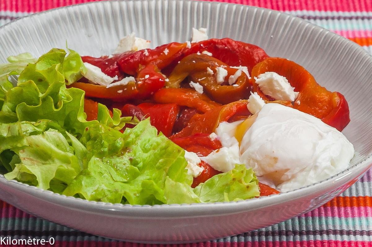 Photo de recette de poivrons grillés, oeuf poché, bio de Kilomètre-0, blog de cuisine réalisée à partir de produits locaux et issus de circuits courts