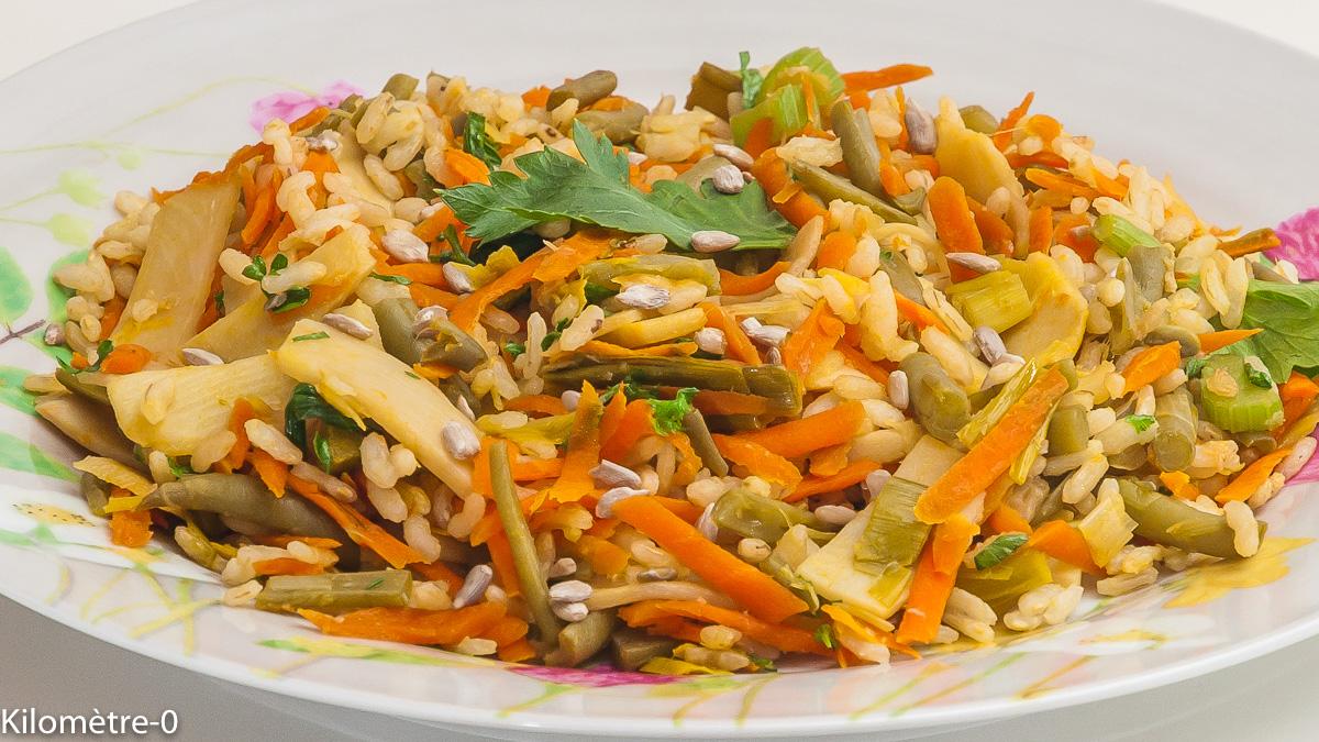Photo de recette de riz frit, légumes, sauce soja de Kilomètre-0, blog de cuisine réalisée à partir de produits locaux et issus de circuits courts